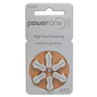 Size 312 hearing aid batteries, brown batteries